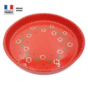 plat à tarte rouge motif fleur