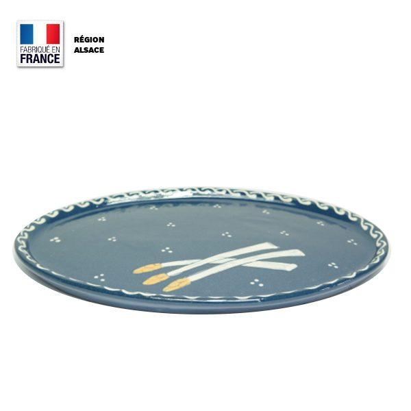 Plat à Asperges Bleu en poterie