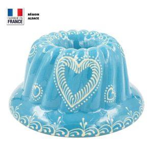 moule kouglof bleu turquoise décor coeur de face