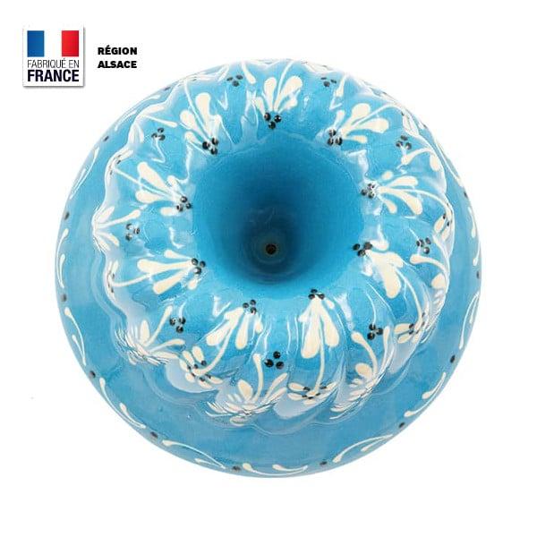 moule kouglof bleu turquoise décor fleur haut