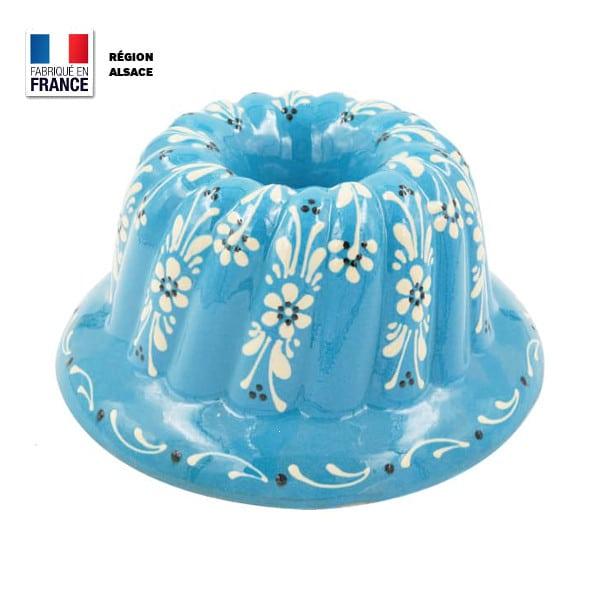 moule kouglof bleu turquoise motif fleur