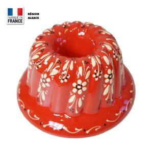 moule kouglof rouge motif fleurs 24 cm