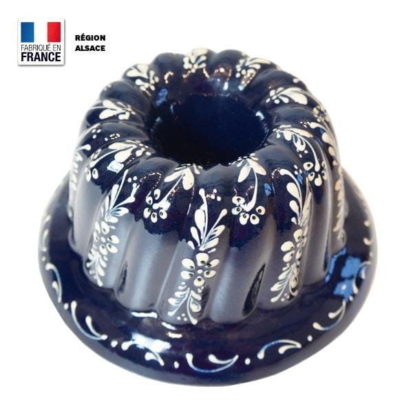 moule kouglof bleu motif fleurs 24 cm