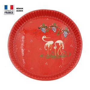 moule à tarte rouge motif cigogne