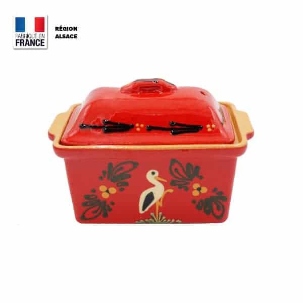 Terrine à Foie Gras - Rouge décor Cigogne